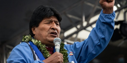 29 March 2021, Bolivia, La Paz: Evo Morales, former president of Bolivia, attends the 26th anniversary of the founding of the ruling party MAS (Movimiento al Socialismo - Movement for Socialism). Evo Morales was forced to resign after allegations of fraud against him in the October 2019 elections led to a serious political crisis. Luis Arce won the subsequent elections in October 2020 with over 55 percent of the vote. Photo: Radoslaw Czajkowski/dpa (Photo by Radoslaw Czajkowski/picture alliance via Getty Images)
