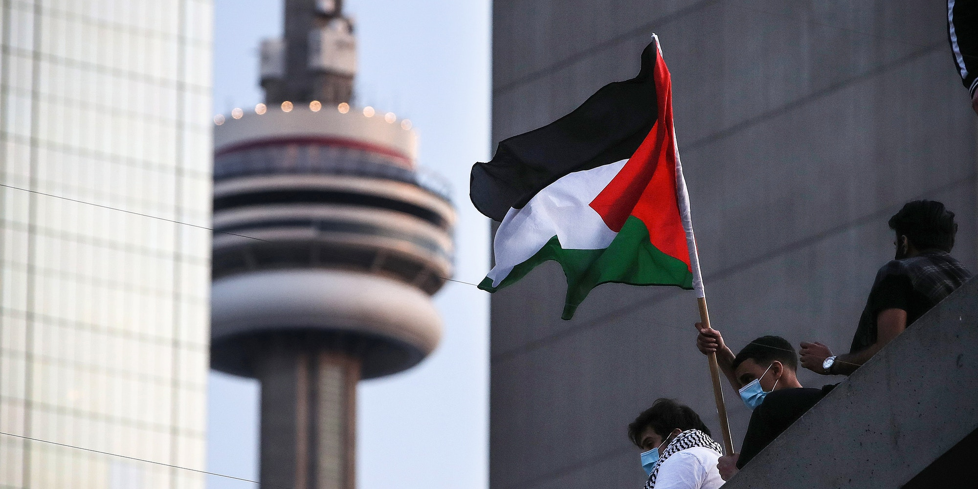 Toronto, ON- May 15  -  Thousands fill Nathan Phillips Squareas  the Palestinian Youth Movement (PYM) hold a demonstration against the Israel/Gaza Strip clashes.  Ontario tightens restrictions to slow the spread of the COVID-19 pandemic in Toronto. May 15, 2021.        (Steve Russell/Toronto Star via Getty Images)