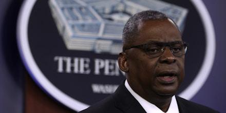 U.S. Secretary of Defense Lloyd Austin participates in a news briefing at the Pentagon May 6, 2021 in Arlington, Virginia.