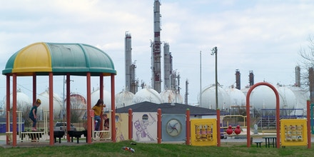 A playground across from a chemical plant in Port Neches, Texas on Feb. 4, 2021.