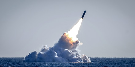 180326-N-UK333-189 PACIFIC OCEAN (March 26, 2008) An unarmed Trident II D5 missile launches from the Ohio-class ballistic missile submarine USS Nebraska (SSBN 739) off the coast of California. The test launch was part of the U.S. Navy Strategic Systems Program's demonstration and shakedown operation certification process. The successful launch certified the readiness of an SSBN crew and the operational performance of the submarine's strategic weapons system before returning to operational availability. (U.S. Navy photo by Mass Communication Specialist 1st Class Ronald Gutridge/Released)