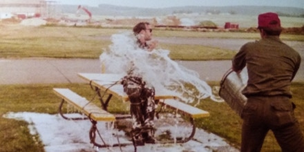 Air Force Staff Sgt. Brad Creacey is seen being doused in AFFF at Sembach Air Base in Germany in July 1984.