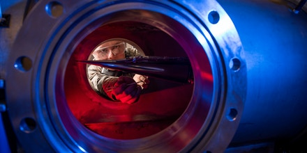 In this Jan. 31, 2019, image provided by the U.S. Air Force Academy, Cadet 2nd Class Eric Hembling uses a Ludwieg Tube to measure the pressures, temperatures, and flow field of various basic geometric and hypersonic research vehicles at Mach 6 in The United States Air Force Academy's Department of Aeronautics, in Colorado Springs, Colo. Little on the Pentagon's drawing board illustrates more clearly the Trump administration's worry about China and Russia than its work on hypersonic weapons. These missiles and aerial vehicles fly at speeds of a mile a second or faster and maneuver in ways that make them extra difficult to detect and destroy in flight. (Joshua Armstrong/U.S. Air Force Academy via AP)