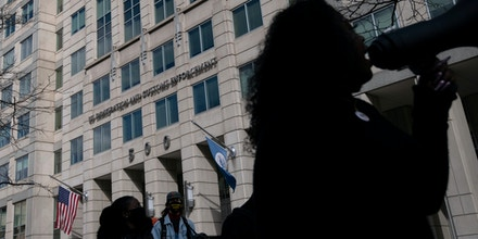 Protesters with Free Wilmer, a campaign for the immediate release of a Honduran migrant named Wilmer who has been detained for two years under Trump Administration asylum policies, rally outside Immigration and Customs Enforcement (ICE) headquarters, in Washington, D.C., on Saturday, March 6, 2021, amid the coronavirus pandemic. Wilmer was initially detained in 2019, and protesters are now calling on the Biden administration to take action on his case and other migrants in similarly detained. (Graeme Sloan/Sipa USA)(Sipa via AP Images)