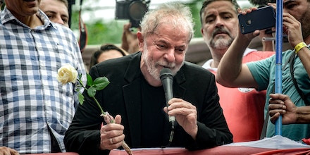 Luiz Inacio Lula da Silva, Brazil's former president, center, speaks at a rally in front of the Metalworks' Union in Sao Bernardo do Campo, Brazil, on Saturday, Nov. 9, 2019. Lula has pledged to travel around Latin America, offering support for leftist leaders at a moment when the region is engulfed bygrowing political turmoil. Photographer: Rodrigo Capote/Bloomberg via Getty Images
