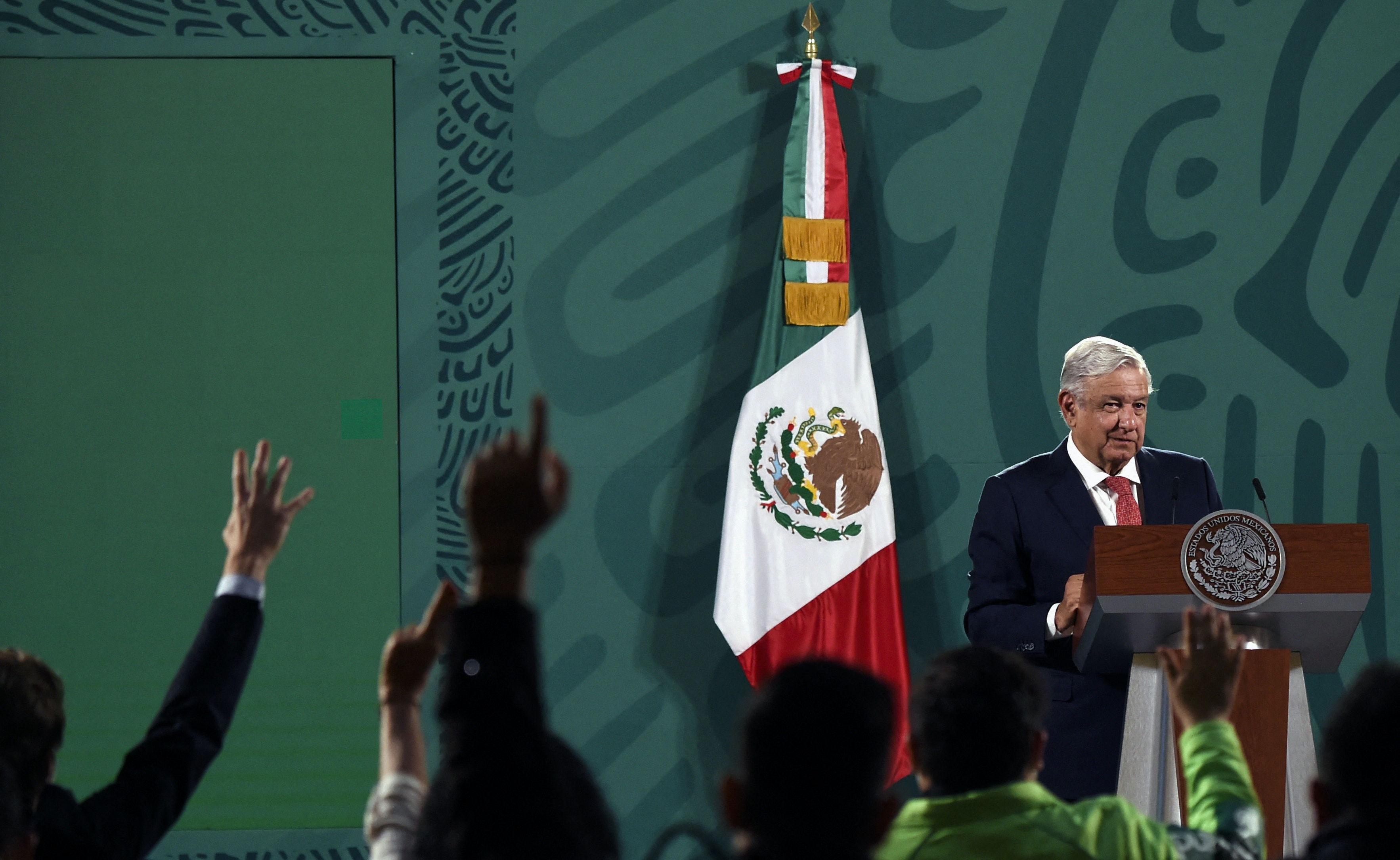 """Mexican President Andres Manuel Lopez Obrador delivers a press conference about the results of Sunday's midterm elections at the National Palace in Mexico City on June 7, 2021. - Mexican President Andres Manuel Lopez Obrador said Monday his ruling coalition was on course to retain its control of the lower house, despite a setback in legislative elections he called """"free and fair."""" (Photo by ALFREDO ESTRELLA / AE / AFP) (Photo by ALFREDO ESTRELLA/AE/AFP via Getty Images)"""