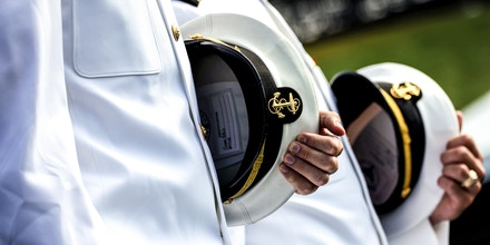 ANNAPOLIS, MARYLAND - MAY 28: Graduating Midshipmen arrive for the U.S. Naval Academy Graduation and Commissioning Ceremony at the Naval Academy on May 28, 2021 in Annapolis, Maryland. The graduating class of 1,084 will be commissioned as ensigns in the Navy or second lieutenants in the Marine Corps. (Photo by Kevin Dietsch/Getty Images)