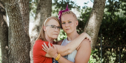 Reality Winner, a former intelligence analyst contracted by the NSA, poses for a portrait with her mother Billie Winner-Davis in the backyard of their home in Kingsville, Texas, on July 3, 2021.