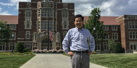 Anming Hu is seen outside of Ayres Hall at the University of Tennessee in 2017.