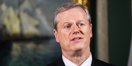 assachusetts Gov. Charlie Baker delivers his televised State of the Commonwealth address from his ceremonial Statehouse office on Tuesday evening, Jan. 26, 2021, in Boston.
