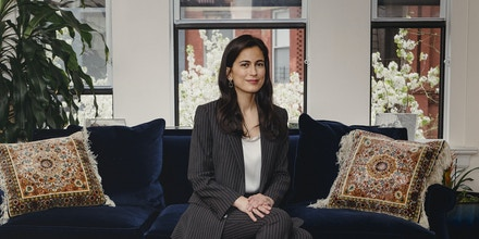 Tali Farhadian Weinstein, who is running for Manhattan district attorney, in New York, April 11, 2021. Weinstein built up a $2.2 million war chest with help from hedge fund managers, far more than her rivals in the Manhattan district attorney race. (Sara Naomi Lewkowicz/The New York Times)