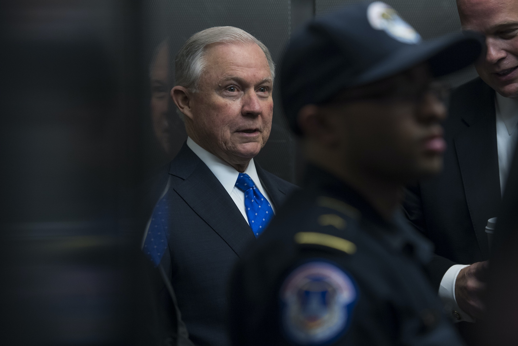 """UNITED STATES - APRIL 26: Attorney General Jeff Sessions arrives to testify before a House Appropriations Commerce, Justice, Science, and Related Agencies Subcommittee hearing in Rayburn Building titled """"'FY2019 Department of Justice,"""" on April 26, 2018. (Photo By Tom Williams/CQ Roll Call) (CQ Roll Call via AP Images)"""