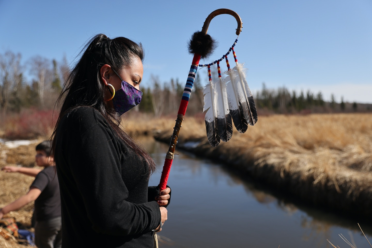 Sasha Beaulieu during a World Water Day rally at the headwaters of the Mississippi River in Northern Minnesota on March 22nd, 2021.