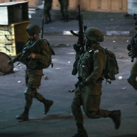 Israeli soldiers are seen during an anti-Israel protest in the West Bank city of Hebron, on May 14, 2021. Tension between Israelis and Palestinians has been flaring up over the past few days amid the escalating violence in East Jerusalem between Palestinian demonstrators and Israeli forces. (Photo by Mamoun Wazwaz/Xinhua via Getty Images (Xinhua/Mamoun Wazwaz via Getty Images)