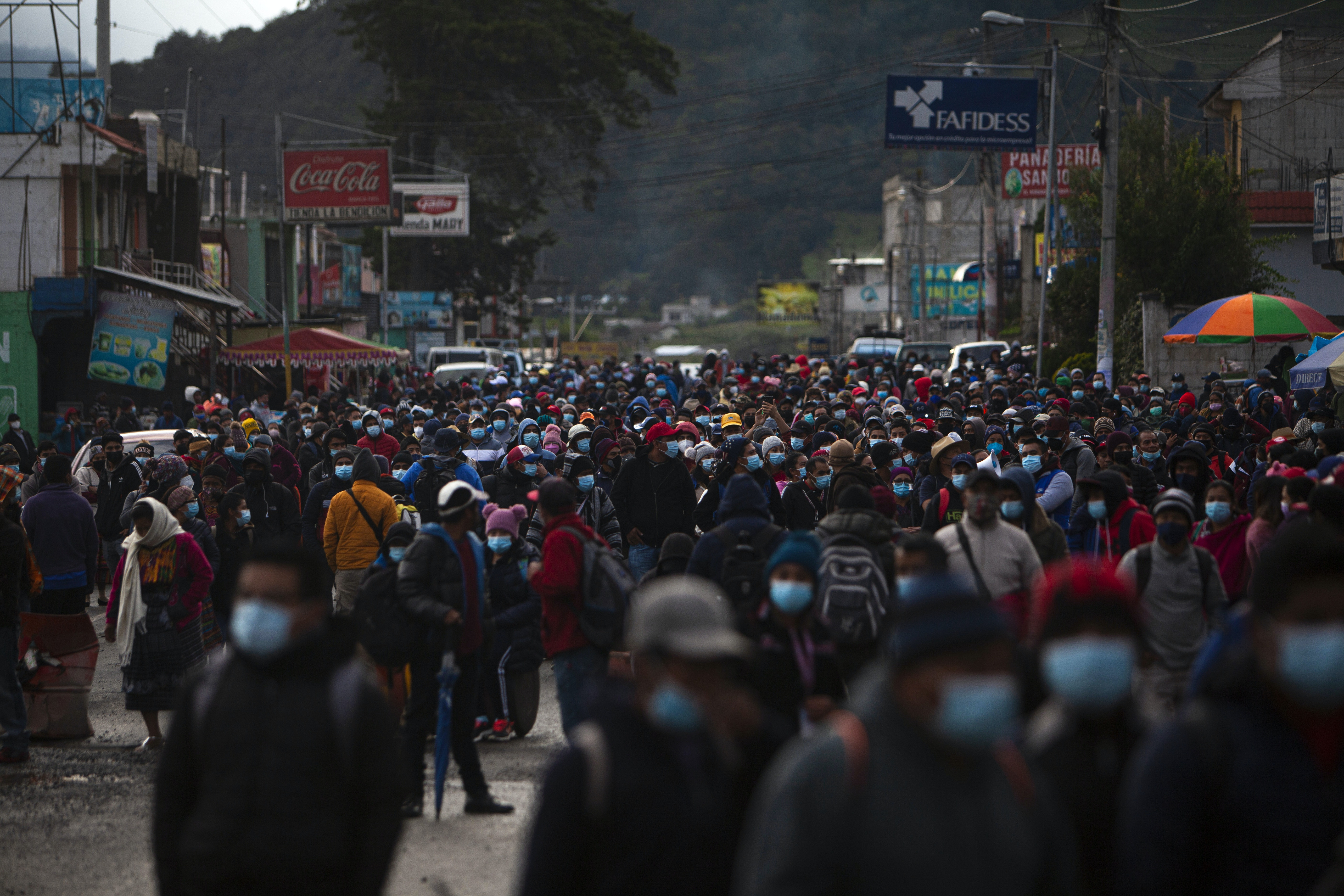 TONONICAPAN, GUATEMALA - JULY 29: Authorities of the 48 indigenous cantons of Totonicapan block a road at the height of Cuatro Caminos in the department of Totonicapan on July 29, 2021 where they express their dissatisfaction with the actions of the government and the rejection of the removal of the Chief of the Special Prosecutor's Office against corruption and impunity (Photo by Luis Vargas/Anadolu Agency via Getty Images)