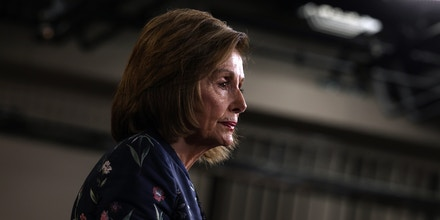 WASHINGTON, DC - JULY 22: House Speaker Nancy Pelosi (D-CA) walks away from the podium after speaking at her weekly news conference at the Capitol building on July 22, 2021 in Washington, DC. Speaker Pelosi said that the House would not take up the bipartisan infrastructure bill until the Senate passed the reconciliation bill. (Photo by Anna Moneymaker/Getty Images)