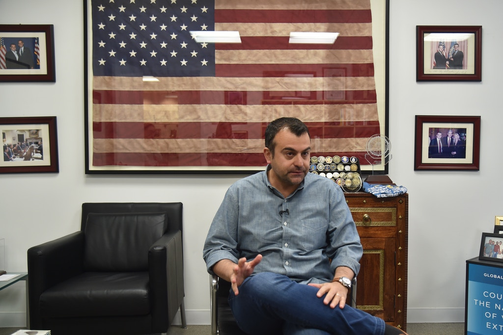 Former FBI Agent Ali Soufan speaks during an interview with AFP in New York City, on April 23, 2018. - To television viewers, he is the FBI agent who hunts down Al-Qaeda. But in real-life, Ali Soufan is just as extraordinary, a Muslim immigrant who fled war to live the American dream. Born in Lebanon, a child of the Middle Eastern country's brutal 1975-1990 civil war, he migrated to the United States as a teenager, was student president at college and dreamt of studying for a PhD in Cambridge, England.Except he applied to the FBI as a dare and was the only one of his friends selected. (Photo by HECTOR RETAMAL / AFP) (Photo by HECTOR RETAMAL/AFP via Getty Images)