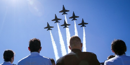 ANNAPOLIS, MARYLAND - MAY 24:   US Navy's Blue Angels fly over the Navy-Marine Corps Memorial Stadium during a graduation ceremony at the U.S. Naval Academy May 24, 2019 in Annapolis, Maryland. The graduating class will be sworn into the Navy as ensigns or into the Marine Corps as second lieutenants in the ceremony.   (Photo by Alex Wong/Getty Images)