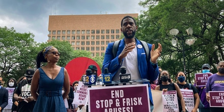 New York City Public Advocate Jumaane Williams is seen speaking outside NYPD headquarters in New York City on July 29, 2021.
