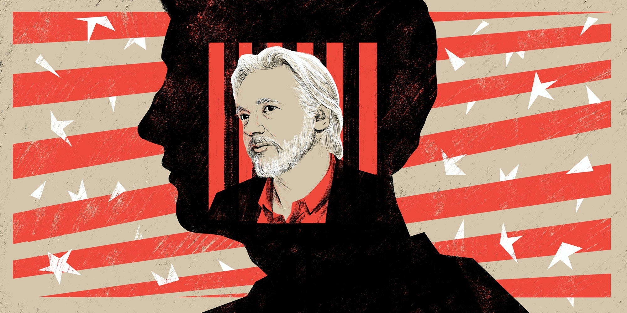 Illustration of Julian Assange