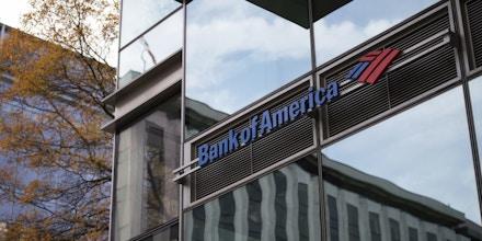 A Bank of America logo on a branch in Washington, D.C., as seen on November 21, 2019. (Graeme Sloan/Sipa USA)(Sipa via AP Images)