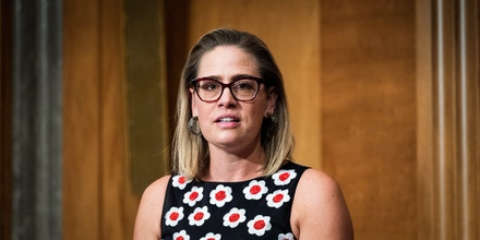August 4, 2021 - Washington, DC, United States: U.S. Senator Kyrsten Sinema (D-AZ) speaking at a meeting of the Senate Homeland Security and Governmental Affairs Committee. (Photo by Michael Brochstein/Sipa USA)(Sipa via AP Images)