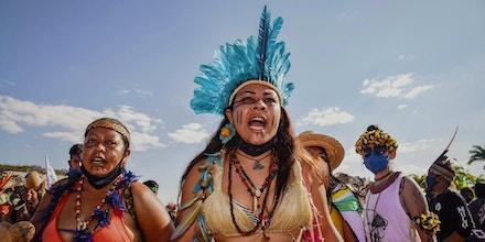 Indigenous Brazilians protest against President Jair Bolsonaro at the Struggle For Life encampment in Brasília, Brazil, on Aug. 25, 2021.