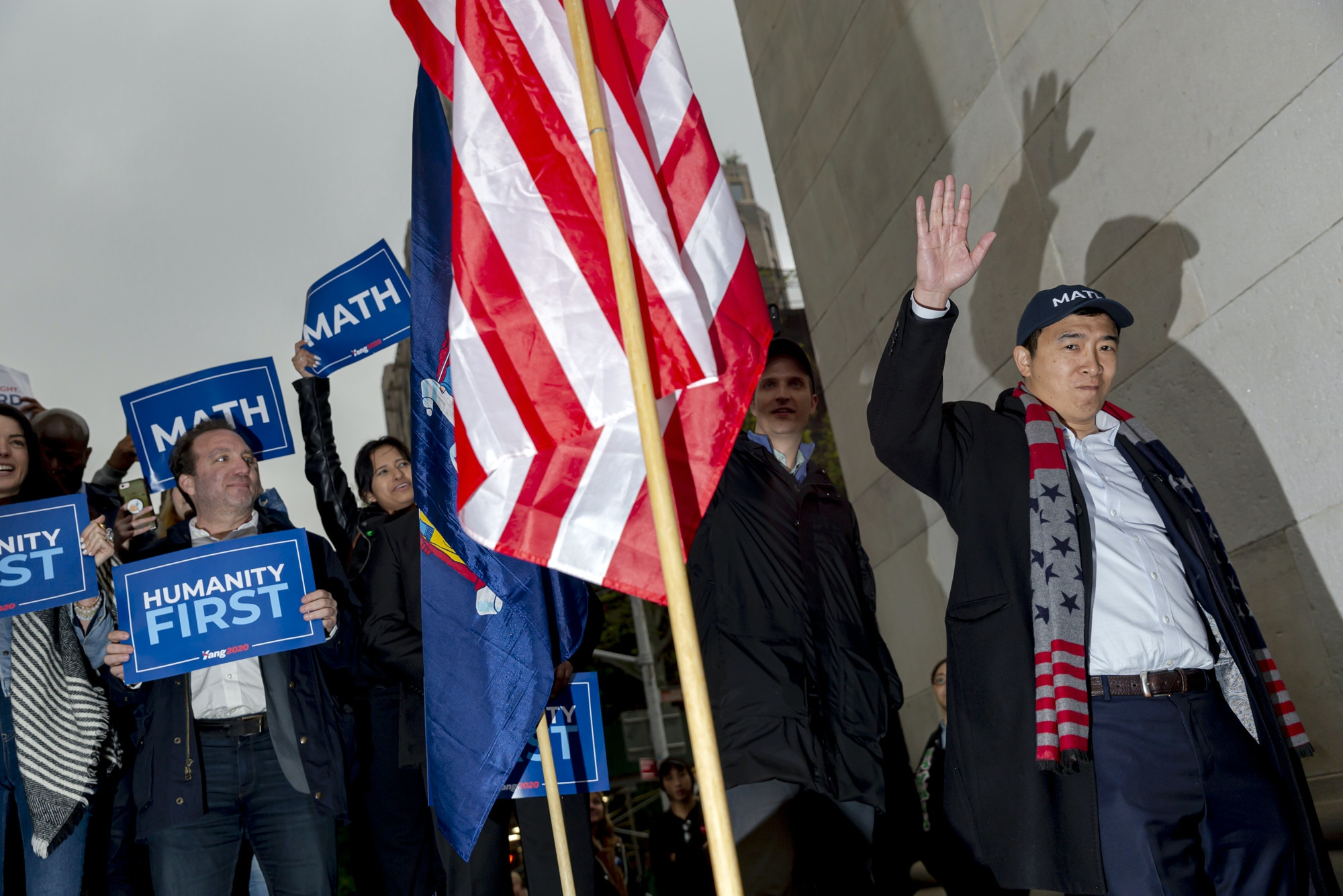 Andrew Yang, founder of Venture for America and 2020 Democratic presidential candidate, waves during a campaign rally in New York, U.S., on Tuesday, May 14, 2019. Yang, dubbed the 'internet candidate' by some, has developed a relatively niche following because of his platform that touts the merits of universal basic income. Photographer: Mark Abramson/Bloomberg via Getty Images
