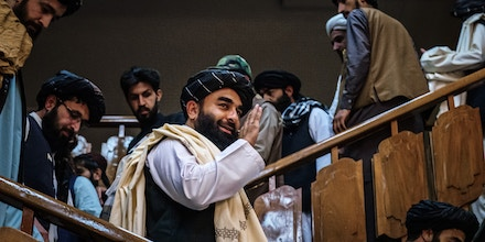 Zabihullah Mujahid, the Taliban spokesperson, makes his first public appearance to address concerns about the Taliban's reputation during a press conference in Kabul, Afghanistan, on Aug. 17, 2021.