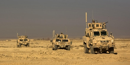 US Army armored humvees and MRAPs driven by soldiers from 1-506 Infantry Division patrol in Paktika province, situated along the Afghan-Pakistan border, on November 27, 2008. Afghanistan is not in a security crisis and disillusionment and recriminations about its situation should be avoided, a UN Security Council team said Thursday at the end of a three-day assessment tour.   AFP PHOTO/DAVID FURST (Photo credit should read DAVID FURST/AFP via Getty Images)