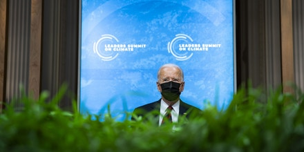 U.S. President Joe Biden listens during a virtual Leaders Summit on Climate with 40 world leaders at the East Room of the White House April 22, 2021 in Washington, DC.