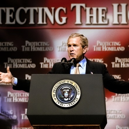 WASHINGTON, :  US President George W. Bush addresses federal employees stressing their critical need to the mission to combat terrorism 10 July, 2002 inside the Daughters of the American Revolution Constitution Hall in Washington, DC. Bush proposed the most significant reorganization of the US government since 1947, creating the Office of Homeland Security and pulling federal employees from over 100 different government organizations.    AFP PHOTO Paul J. Richards (Photo credit should read PAUL J. RICHARDS/AFP via Getty Images)