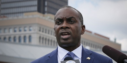 Buffalo Mayor Byron Brown is seen during a press conference in Buffalo, N.Y., on, July 24, 2020.