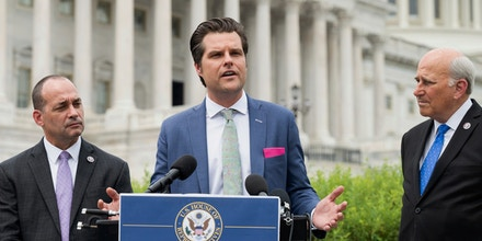 Rep. Matt Gaetz, R-Fla., speaks at a press conference on July 29, 2021, about the detention of those arrested for crimes related to the insurrection at the U.S. Capitol on January 6.