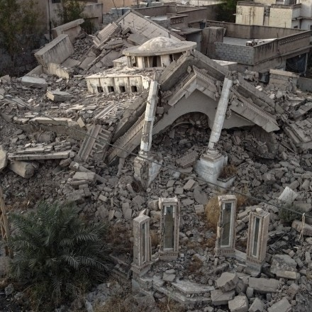 The rubble of a house destroyed in 2017 by U.S.-led coalition airstrikes, according to local residents, is seen in the Najjar neighborhood of Mosul, Iraq, on Sept. 18, 2021.
