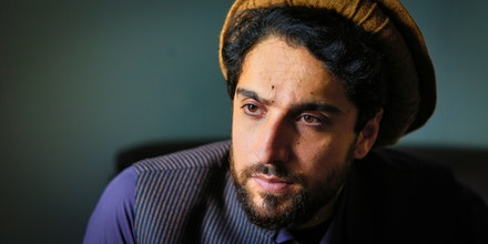 MASSOUD FOUNDATION, KABUL, AFGHANISTAN - SEPTEMBER 15, 2019 : Portrait of Ahmad Massoud at the Massoud Foundation on September 15, 2019 in Kabul,Afghanistan. Ahmad Massoud,Son of Ahmad Shah Massoud has launched an initiative to build a anti Taliban coalition to bring peace to the nation. (Photo by Reza/Getty Images)