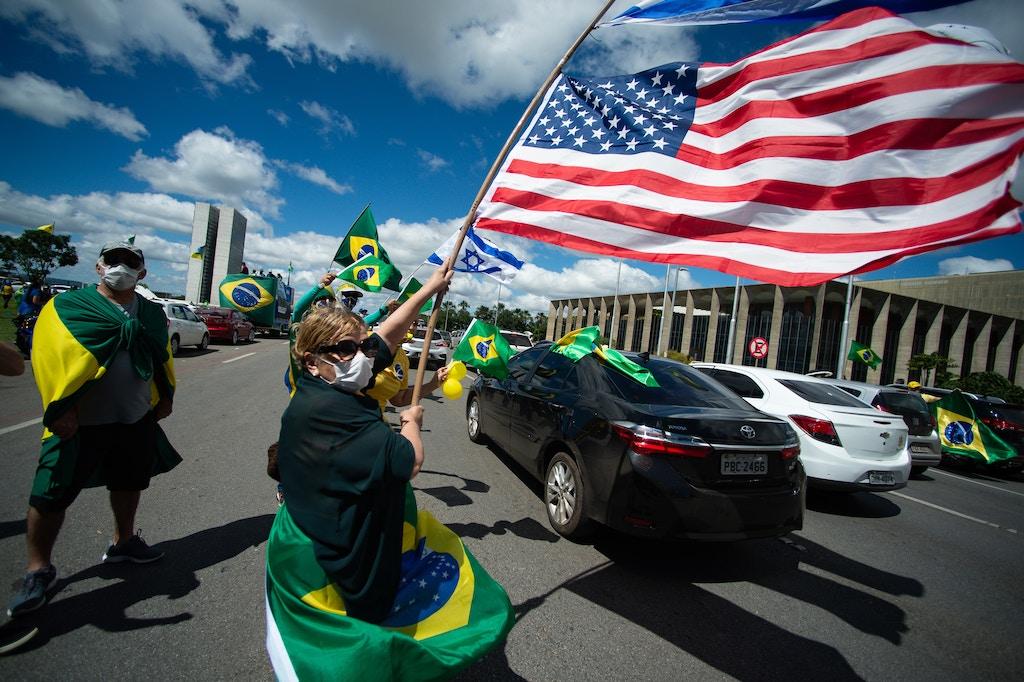 Pro-Bolsonaro Supporters Organize a Motorcade Amidst a Political Crisis During the Coronavirus (Cov