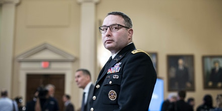 Lt. Col. Alexander Vindman appear before the House Intelligence Committee during the House impeachment inquiry concerning President Donald Trump on Capitol Hill in Washington, DC on November 19, 2019.