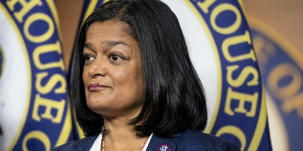 UNITED STATES - JUNE 16: Rep. Pramila Jayapal, D-Wash., participates in the news conference in the Capitol to outline the bipartisan agenda for