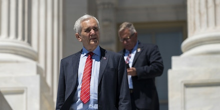 UNITED STATES - JUNE 17: Rep. Lloyd Doggett, D-Texas, leaves the Capitol after the last vote of the week on Thursday, June 17, 2021. (Photo by Bill Clark/CQ-Roll Call, Inc via Getty Images)