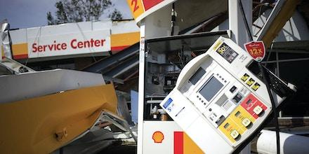 A Shell gasoline station damaged by Hurricane Ida in Lockport, La., on Aug. 31, 2021.