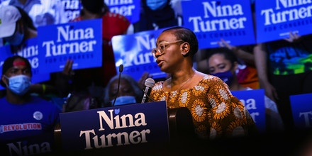 CLEVELAND, OHIO - JULY 31: Congressional Candidate Nina Turner speaks during a Get Out the Vote rally at Agora Theater & Ballroom on July 31, 2021 in Cleveland, Ohio. Congressional Candidate Nina Turner was joined by Sen. Bernie Sanders (I-VT), Minnesota Attorney General Keith Ellison, and Dr. Cornell West for a GOTV campaign rally on the final weekend of early voting before Tuesdays Primary Special Election for Ohio's 11th Congressional District primary were Turner and Cuyahoga Councilwoman Shontel Brown are the frontrunners ahead of 11 other Democratic candidates in the race. The rally was followed by a march to the Board of Elections office. The special election was triggered after former Rep. Marcia Fudge, joined the Biden administration to become the U.S. Secretary of Housing and Urban Development.  (Photo by Michael M. Santiago/Getty Images)