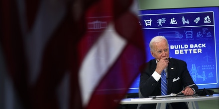U.S. President Joe Biden participates in a virtual meeting on Infrastructure Investment and Jobs Act at South Court Auditorium at Eisenhower Executive Office Building August 11, 2021 in Washington, DC.