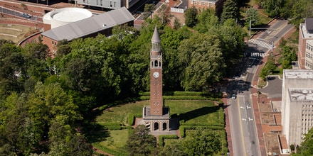 CHAPEL HILL, NC - APRIL 21: An aerial view of the University of North Carolina campus including the Morehead-Patterson Bell Tower (center) on April 21, 2013 in Chapel Hill, North Carolina. (Photo by Lance King/Getty Images)
