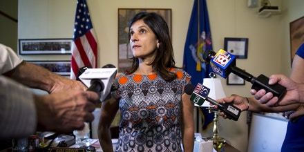 Sara Gideon talks to the press in her office at the Maine State House on July 3, 2017.