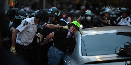 A legal observer from the National Lawyers Guild is arrested in the Mott Haven  neighborhood of New York City on  June 4, 2020.