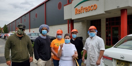 Refresco workers before they told management they were filing for a union election, on May 3, 2021.