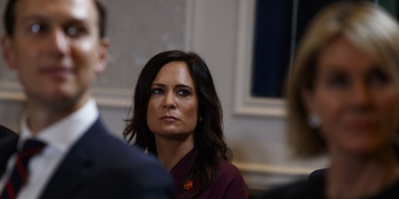 White House press secretary Stephanie Grisham listens during a meeting between President Donald Trump and Prime Minister Imran Khan of Pakistan at the InterContinental Barclay hotel during the United Nations General Assembly, Monday, Sept. 23, 2019, in New York. (AP Photo/Evan Vucci)