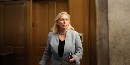 Sen. Kirsten Gillibrand, D-N.Y., walks in the U.S. Capitol during a vote on July 21, 2021.