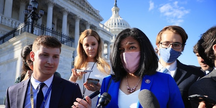 Congressional Progressive Caucus Chair Rep. Pramila Jayapal, D-Wash., talks to reporters following a vote to keep the federal government open until early December outside the U.S. Capitol on Sept. 30, 2021.